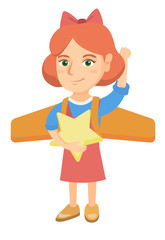 Caucasian girl with raised arm playing with airplane wings and holding a star in hand. Little girl with airplane wings behind her back. Vector sketch cartoon illustration isolated on white background.