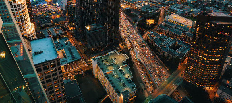 Aerial view of Downtown Los Angeles, CA at sunset