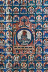 Ancient Buddhist Painting In Tibetan Monastery . Ladakh, North India.