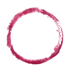 Red circle, brush stroke texture. Isolated.