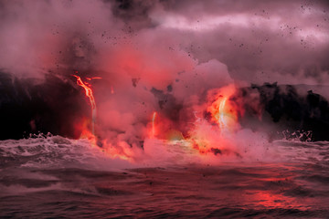 Lava is flowing from volcano Kīlauea to Pacific ocean