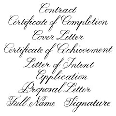 Handwritten calligraphic taglines for business documents. Vector illustration on white background