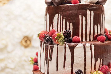 Strawberry blackberry and raspberry wedding cake