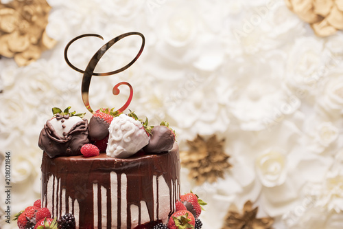 Strawberry Chocolate Covered Wedding Cake Stock Photo And Royalty