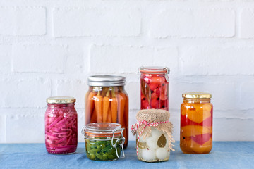 Collection of different pickled vegetables