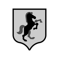 Horse Shield heraldic symbol. Sign Royal Horse for coat of arms. Vector illustration