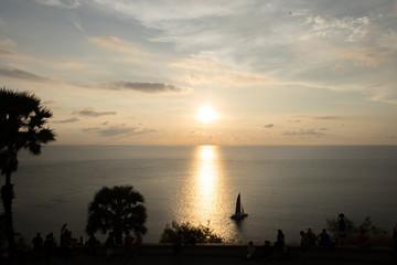 Phuket, Thailand- January 8,2018, The tourist watching the sunset at Promthep Cape (Laem Phromthep), Phuket Island, Thailand.