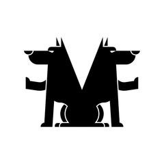 Wolf symbol. Werewolf Sign. Forest predator. Vector illustration