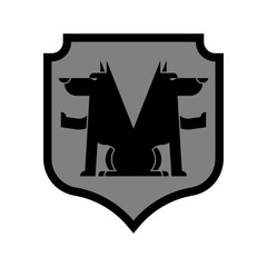 Wolf Shield heraldic symbol. Sign werewolf for coat of arms. Royal Forest predator. Vector illustration