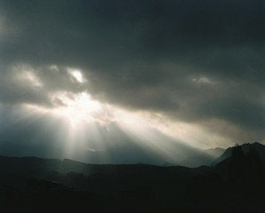Morning sky sunshine, drama effect. In the mountains. Shoot with 120 film