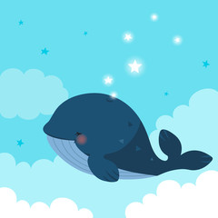 Blue whale with stars on blue sky background