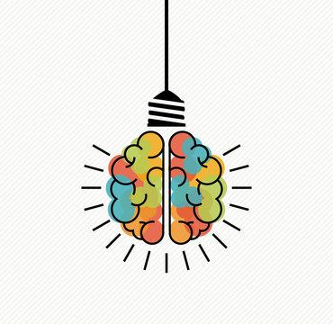 Creative thinking brain light bulb for new ideas