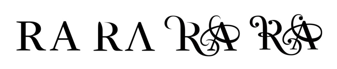 Letter R and A logo. Stage storyboard of drawing.