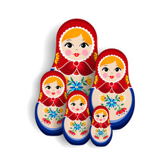 Traditional russian matrioska doll family isolated