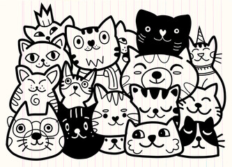 doodle cats group,Different species of cats, Vector Illustration