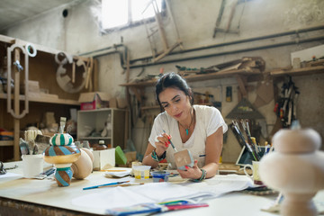Furniture designer at her workshop
