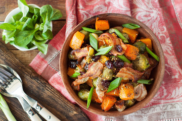 Roasted pumpkin with brussels sprouts and bacon