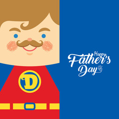 Happy Father's Day template or copy space. Cartoon father dressed like superhero. Super dad in flat vector illustration.