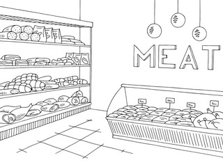 Meat store graphic shop interior black white sketch illustration vector
