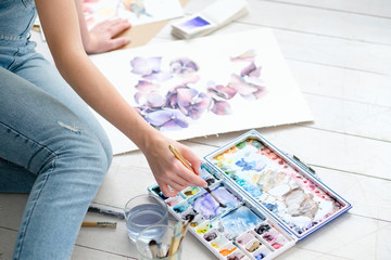 creative leisure. painting hobby. artful personality. talented girl drawing a picture