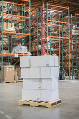 Pallet of cardboard boxes in warehouse