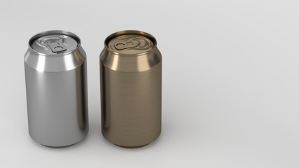 Two small gold and silver aluminum soda cans mockup on white background