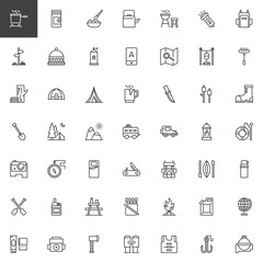 Camping outline icons set. linear style symbols collection, line signs pack. vector graphics. Set includes icons as Logs, Pot on fire, Medicines, Meal, Kettle, Grill, Spray, Gps, Map Tent Trailer