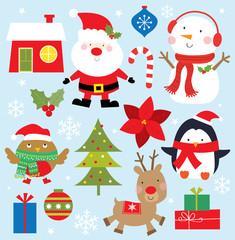 cute christmas icon collection design