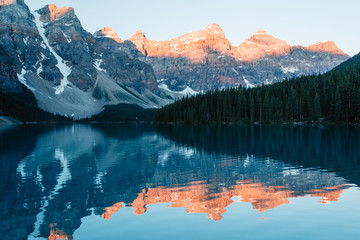Early morning sunrsie at Moraine Lake in Banff National Park.