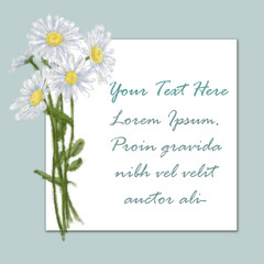 Daisy Bouquet Card on Blue Background with Text Copy Space on White.
