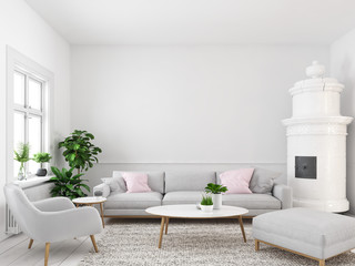 living room with empty wall for picture frames. 3d rendering