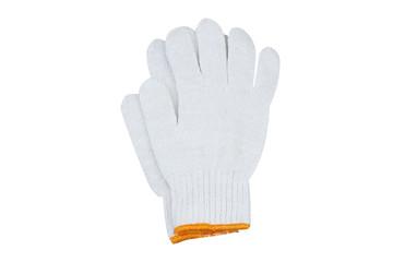 White woven gloves with orange edge