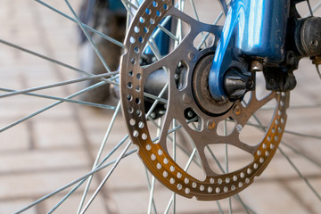 Mountain bike wheel with disc brake close up