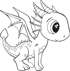 Photo sur cadre textile Cartoon draw Cute Dragon Vector Illustration Art