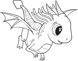 Cute Dragon Vector Illustration Art
