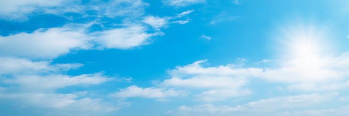 Beautiful blue sky clouds have Pileus on Cumulonimbus Congestus for background. Panorama of sky.