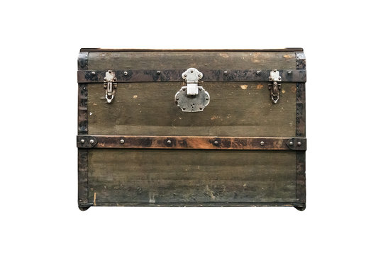 old treasure chest isolated on white background. Vintage vintage dark green box