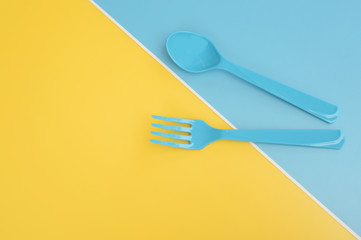 close up of plastic spoons for background