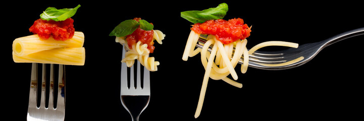 Banner of pasta on black background