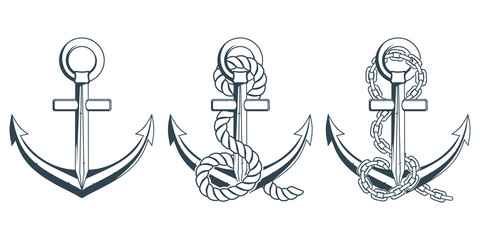 Set of different anchors for marine design. Illustration of a ship's anchor with a rope. Vector graphics to design.