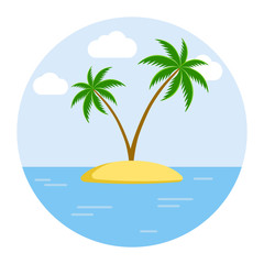 Two palm trees on the tropical island