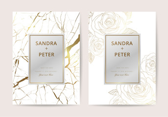 Luxury wedding invitation cards with gold marble texture and rose flower geometric pattern vector design template