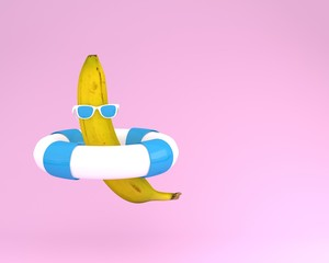 Creative summer layout made of banana with blue pool float and sunglasses on pink pastel background. minimal fruit concept idea.