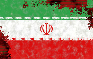 Illustration of an Iranian Flag, imitation of a painting on the old wall with cracks