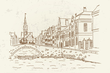 Wall Mural - Vector sketch of Traditional architecture in the town of Bruges (Brugge), Belgium. Retro Style.