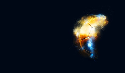 Golden soccer ball with banner copy space