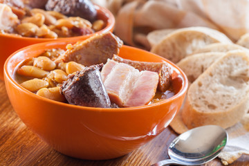 Bowl with fabada asturiana
