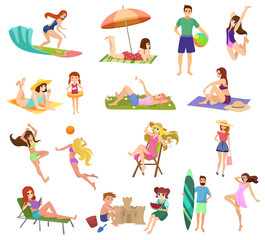 Vector Anime style beautiful young people and kids set on beach isolated. Playing, jogging, surfing and relaxing.