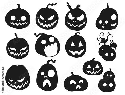Halloween Pumpkin Vector Art.Set Of Halloween Pumpkin Vector Black Pumpkin Silhouette On
