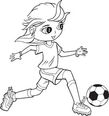 Spoed Foto op Canvas Cartoon draw Girl Child Soccer Player Vector Illustration Art